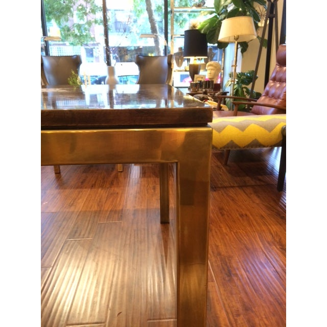 Modern Brass & Burlwood Parson Dining Table - Image 3 of 6