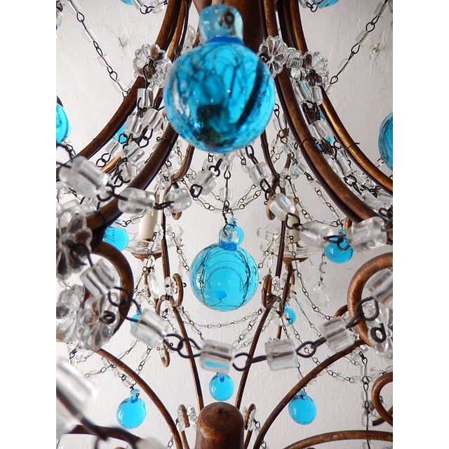 French Blue Murano Balls Beaded Swags Chandelier, circa 1900 For Sale - Image 10 of 13