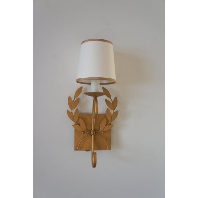 Julie Neill Gilt Metal Wreath Sconce For Sale - Image 11 of 11