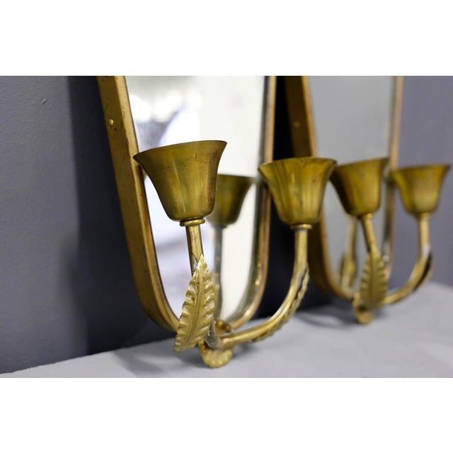 Pair of Italian MidCentury Applique With Mirror in Brass 1950s For Sale - Image 6 of 7