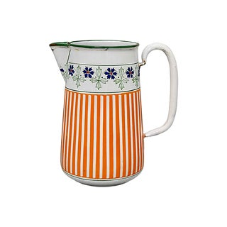 1920s Striped French Enamel Pitcher For Sale