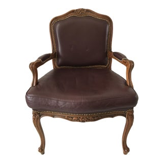 Country French Eggplant Leather Chair