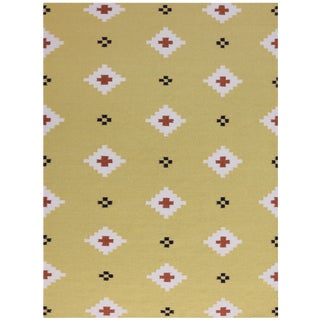 Zara Southwestern Yellow Flat-Weave Rug 3'x5' For Sale