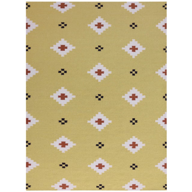 Zara Southwestern Yellow Flat-Weave Rug 3'x5' For Sale