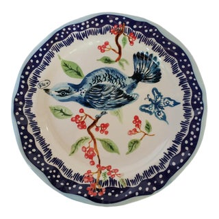Vintage Hand Painted Nathalie Lete Blue Bird Stoneware Plate French For Sale