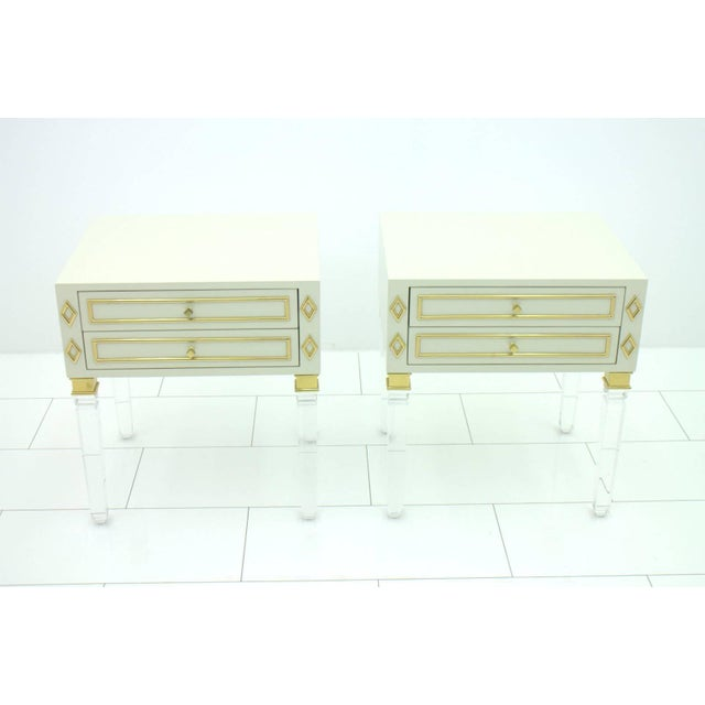 Pair of Nightstands, Lucite, Wood and Brass, 1970s For Sale - Image 6 of 9