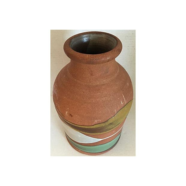 Partially Glazed Artistic Pottery Bottle For Sale - Image 4 of 6