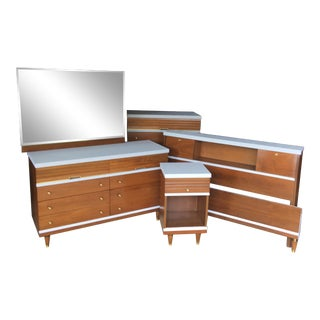 Mid-Century Bedroom Dresser Set - 8 Pieces For Sale