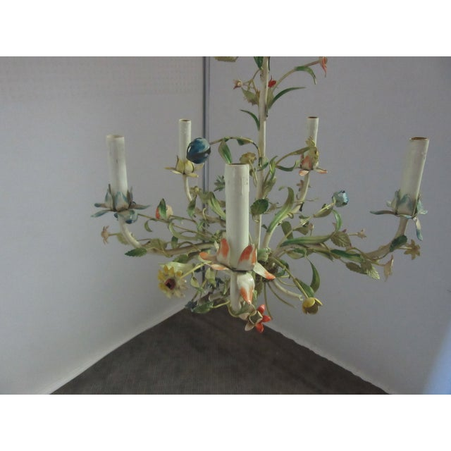 1950s Italian Tole Chandelier With Multi-Color Flowers For Sale - Image 4 of 7