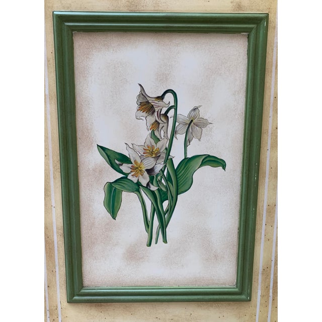 Vintage Early 20th Century French Hand-Painted Floral Botanical Wood Screen For Sale - Image 9 of 12