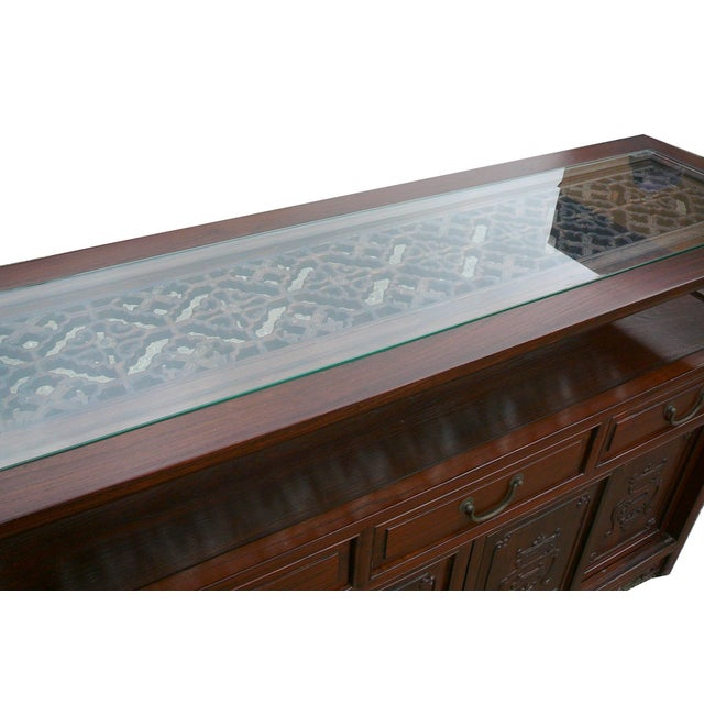 Chinese Glass Top High Credenza - Image 3 of 8
