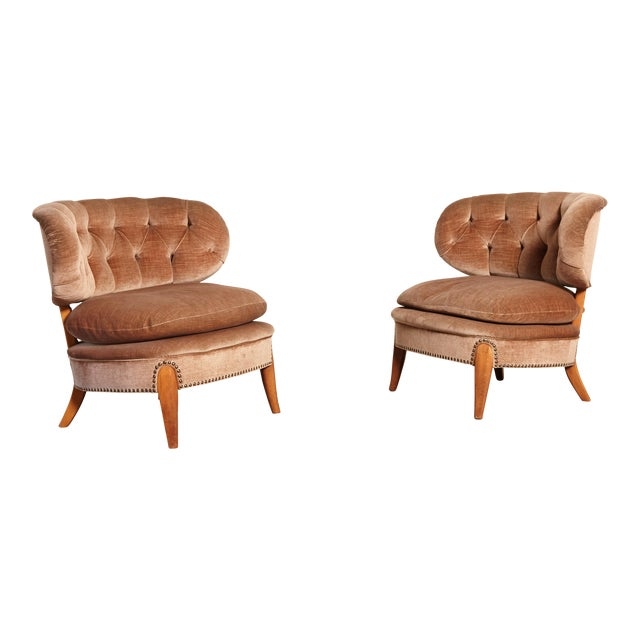 Pair of Otto Schulz 'Schultz' Easy Chairs, Sweden, 1940s-1950s For Sale
