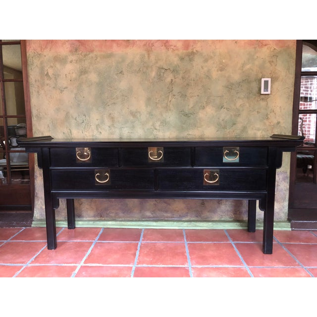 1990s Asian Century Furniture Black Lacquer Altar Console Table For Sale - Image 13 of 13
