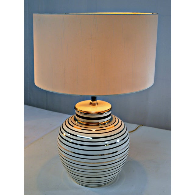 Mid Century Bowl Table Lamp & Drum Shade - Image 2 of 10