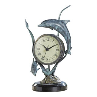 Dolphin Sculpture with Clock For Sale