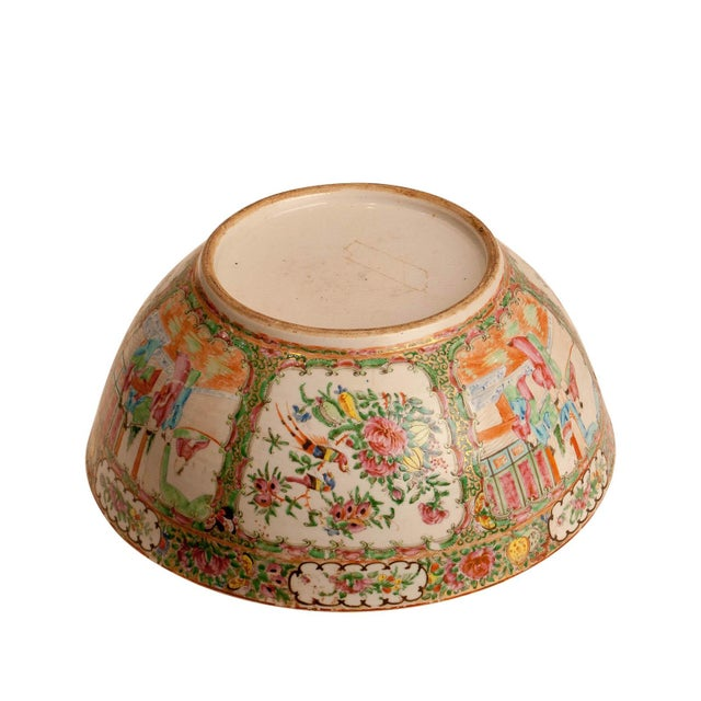Mid 19th Century 19th Century Chinese Rose Medallion Punch Bowl For Sale - Image 5 of 6