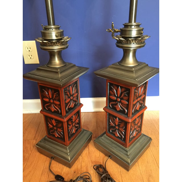 Stiffel Mid-Century Hollywood Regency Red Table Lamps, 1960s - A Pair For Sale - Image 5 of 11