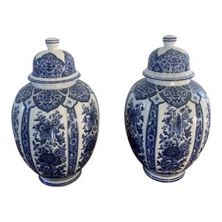 Italian Blue and White Porcelain Ginger Jars by Ardalt Blue Delfia - a Pair For Sale
