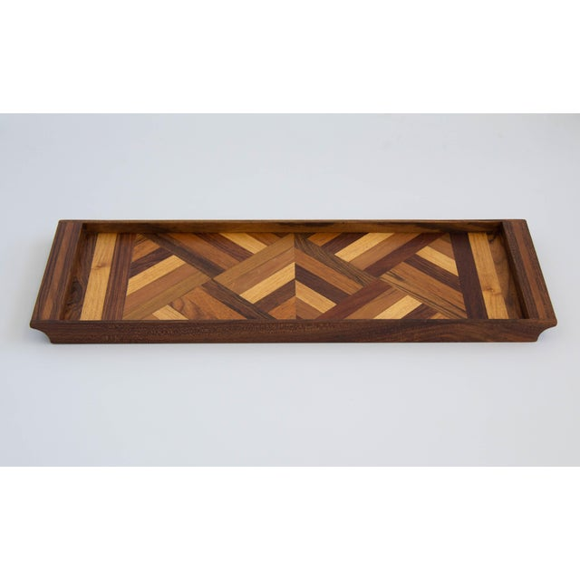 Boho Chic Don Shoemaker Rosewood Inlay Tray For Sale - Image 3 of 7