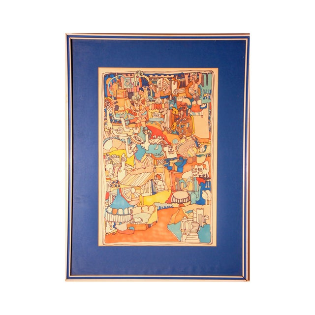 "E. Price Egan ""Brueger Vision"" Framed Pen and Ink Drawing For Sale - Image 13 of 13"