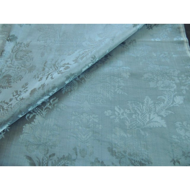 Traditional Antique Blue Floral Silk Damask Textile Panel For Sale - Image 3 of 6