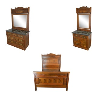 Victorian Eastlake Antique Walnut Marble Top 3 Piece Full Size Bedroom Set For Sale