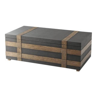 Leather Wrapped Trunk Coffee Table For Sale