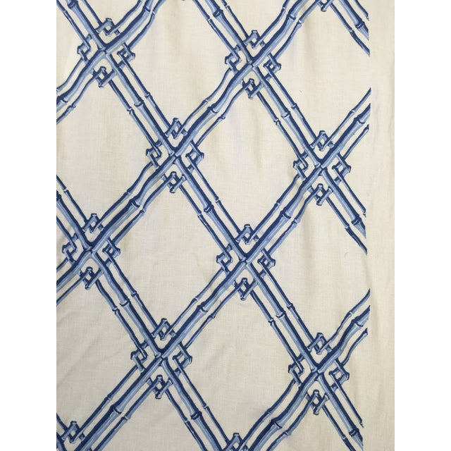 Brunschwig & Fils Bamboo Trellis blue fabric. The fabric was made recently.