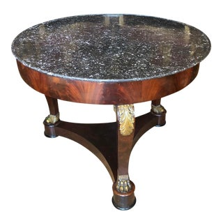 Antique Regency Style Bronze Mounted Empire Marble Top Side Table For Sale