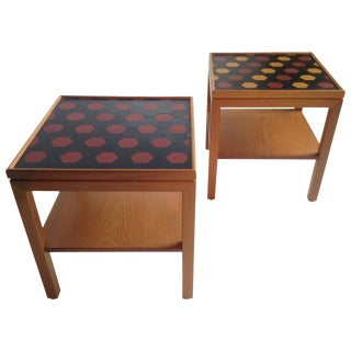 Modernist Pearwood and Leather Tray Tables Emanuela Frattini - A Pair For Sale