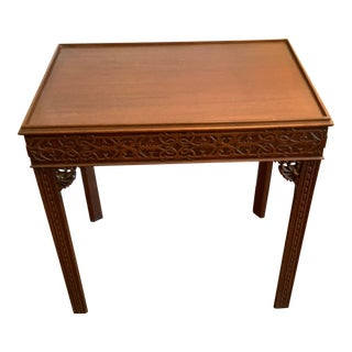English Chinese Chippendale Mahogany End Table For Sale