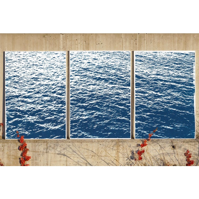 Bright Seascape in Capri, Navy Cyanotype Triptych 100x210 Cm, Classic Blue Edition of 20. For Sale In Miami - Image 6 of 11