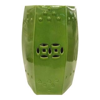 Asian Modern Style Green Glaze Garden Stool For Sale