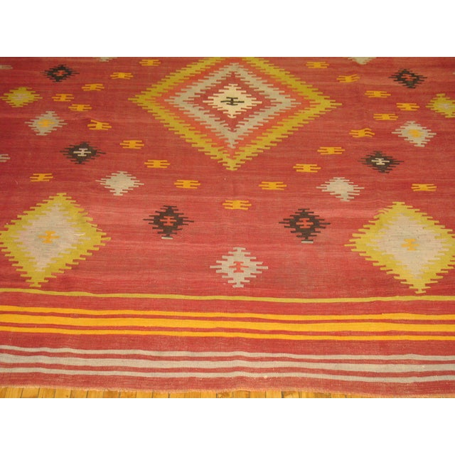 Vintage Red & Yellow Kilim Rug - 8'8'' X 11'8'' - Image 3 of 6