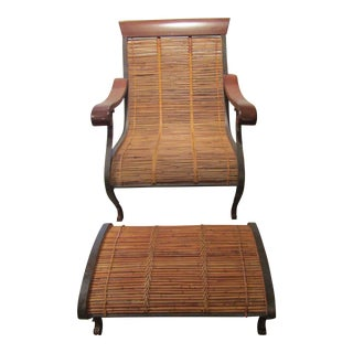 1980s Vintage Wrapped Bamboo & Rattan Chair & Ottoman For Sale