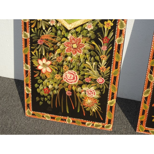 Black Vintage French Country Maitland Smith Style Wall Panels Floral Pictures For Sale - Image 8 of 12