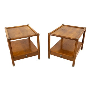 American of Martinsville Mid Century Single Drawer Side Table With Metal Accents - Pair For Sale