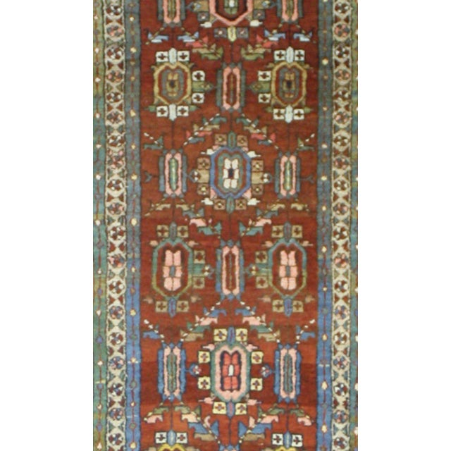 Blue Distressed Antique Persian Heriz Runner - 02'05 X 17'03 For Sale - Image 8 of 9