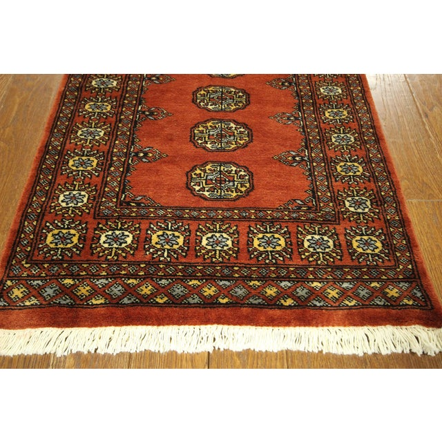 "Bokhara Orange Hand Made Wool Rug - 2'6"" x 16'1"" - Image 4 of 8"