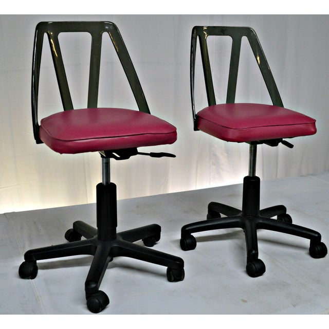 Vintage Smoked Lucite Office Chairs - Pair - Image 2 of 9