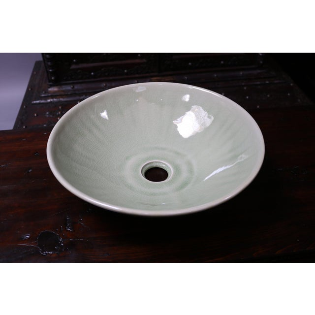Celedon Porcelain Sink Basin For Sale - Image 4 of 5