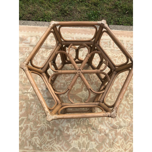 McGuire Boho McGuire Style Bent Rattan Table + Octagon Shaped, Beveled Glass Top For Sale - Image 4 of 11