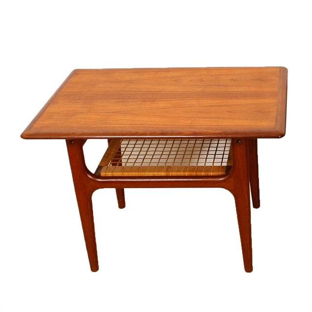 Vintage Danish Teak & Cane Accent Tables - A Pair - Image 4 of 5
