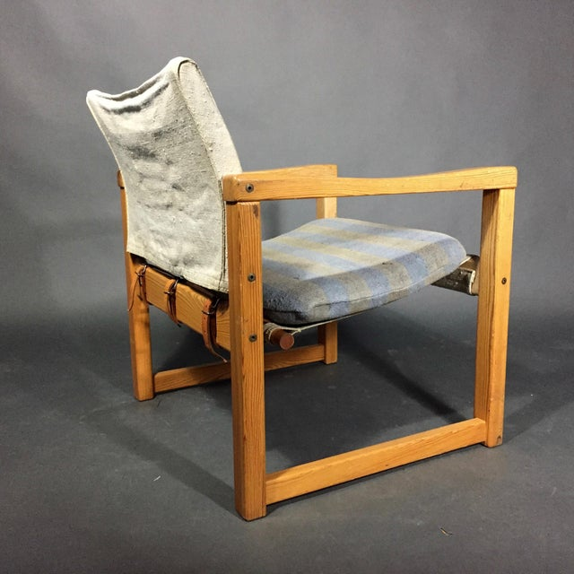 "1970s Karin Mobring ""Diana"" Armchair, Pine & Canvas, Sweden 1970s For Sale - Image 5 of 12"
