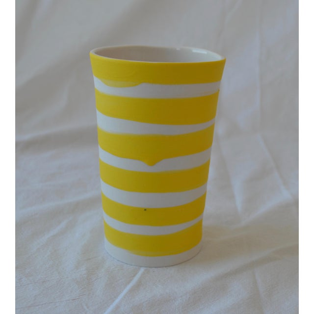 Contemporary Ceramic Multi Striped Cylindrical Vessels - Group of 5 For Sale - Image 9 of 13