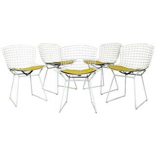 Contemporary Modern Harry Bertoia for Knoll Set 5 Side Dining Chairs 1980 Yellow For Sale
