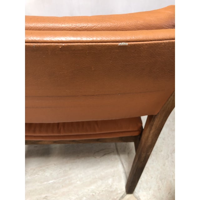 Orange Mid Century Modern Leather Chairs- a Pair For Sale - Image 8 of 9