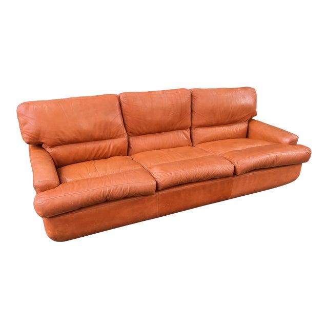 Saporiti Burnt Orange Leather Sofa For Sale