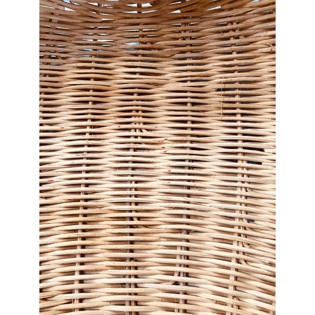 1960s Boho Chic Wicker Basket With Handle For Sale - Image 9 of 11