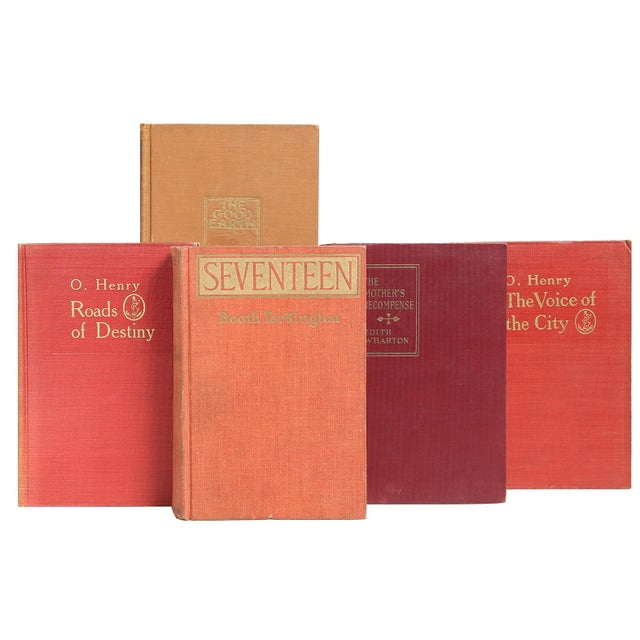 Clay-Toned American Classics, S/20. Twenty vintage books featuring American authored literary classics in blended clay-...